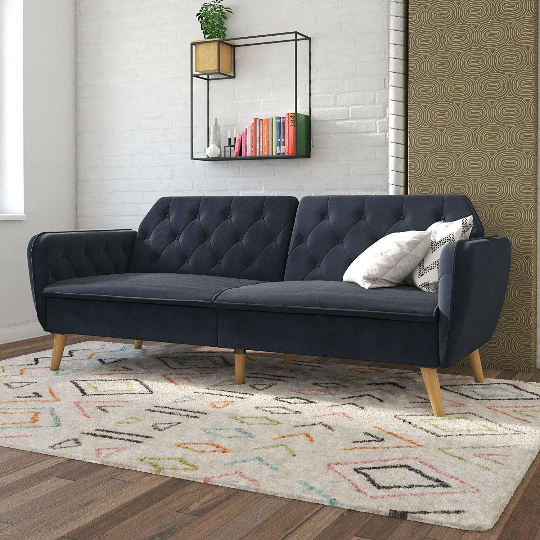 Memory Foam Blue Velvet Upholstered Futon Sofa Bed with ...